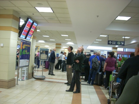 Huge lines to rebook flights and find a hotel for the night...
