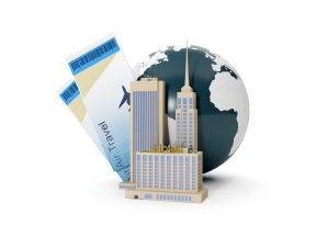 3d illustration: World Tour. The group of buildings and suitcase