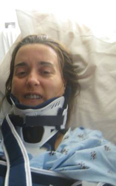 Day One- 'Not all there' Gina, smiling despite all the injuries... Wow.