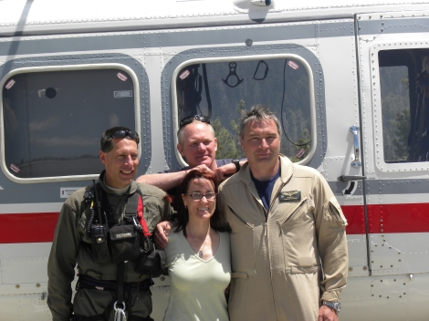 2012- Meeting my Search & Rescue Team for the 1st time; Jack Hoeflich, Jeff Pirog, Tim Lyons in front of the rescue helicopter