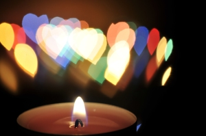 Candle with heart flame